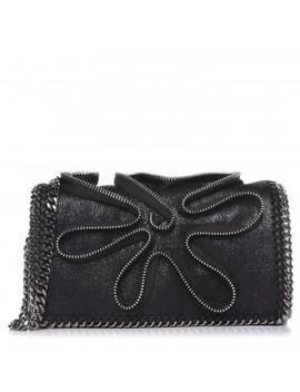 Stella Mc Cartney Shaggy Deer Falabella Zipper Crossbody Bag Black by Stella Mc Cartney