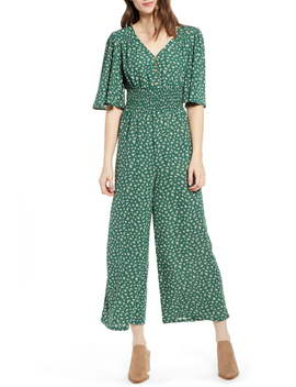 Smocked Waist Wide Leg Jumpsuit by Good Luck Gem