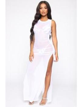 Away From Reality Coverup Dress   White by Fashion Nova