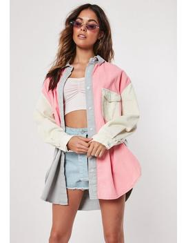 Blush Super Oversized Colour Block Denim Shirt by Missguided
