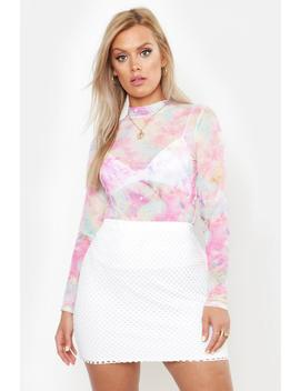 Plus Cosmo Print Mesh Top by Boohoo