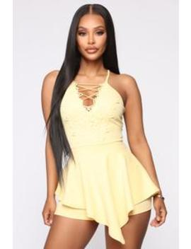 Worth The Time Romper   Yellow by Fashion Nova