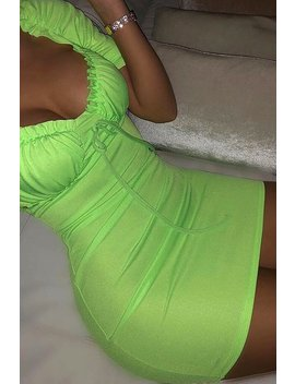 Neon Green Puff Sleeve Tie Front Mini Dress by I Saw It First