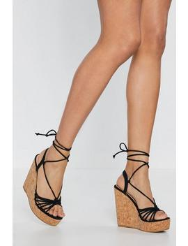 Knot Me Babe Tie Cork Wedges by Nasty Gal