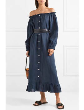 Ruffled Off The Shoulder Linen Midi Dress by Sleeper