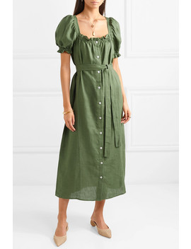 Brigitte Belted Linen Midi Dress by Sleeper
