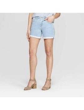 Women's Mid Rise Single Cuff Raw Hem Boyfriend Jean Shorts   Universal Thread Light Wash by Rise Single Cuff Raw Hem Boyfriend Jean Shorts