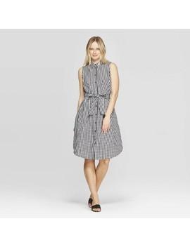 Women's Sleeveless Collared Button Front Tie Waist Shirtdress   Who What Wear by Front Tie Waist Shirtdress