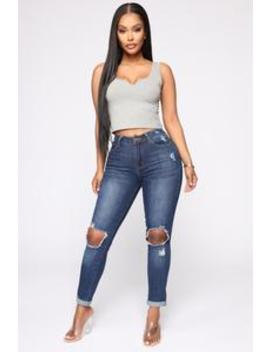 Kay Knee Slit Cuffed Jeans   Blue by Fashion Nova