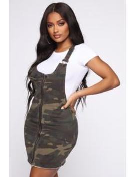 Ellie Camo Zip Up Overall Dress   Olive by Fashion Nova
