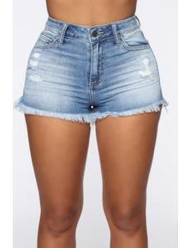 Cutting Up Distressed Denim Shorts   Medium Blue Wash by Fashion Nova