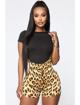 Stacey Cheetah Overall Set   Taupe/Combo by Fashion Nova