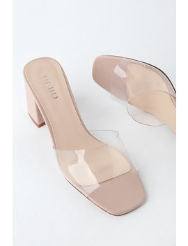 My Clementine Clear And Nude Vinyl Peep Toe Mules by Lulu's