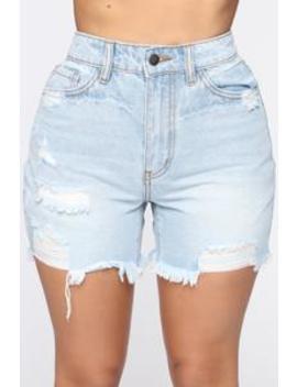 Fray The Day Denim Shorts   Light Blue Wash by Fashion Nova