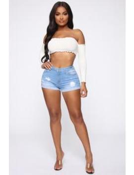 Quit Distressing Me Denim Shorts   Light Blue Wash by Fashion Nova