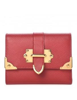 Prada Saffiano Cahier Compact Flap Wallet Fuoco by Prada