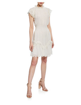 High Neck Metallic Short Dress With Lace by Rebecca Taylor