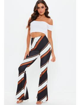 Tall Rust Stripe Flare Pants by Missguided