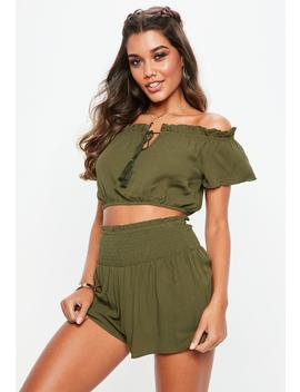 Khaki Bardot Tassel Tie Crop Top by Missguided