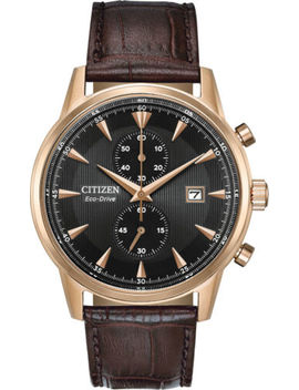 Citizen Ca7003 06 E Men's Eco Drive Rose Gold Leather Band Chronograph Watch by Citizen