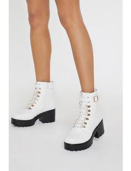 Pu Matte Hiker Lace Block Heel Boot by Nasty Gal