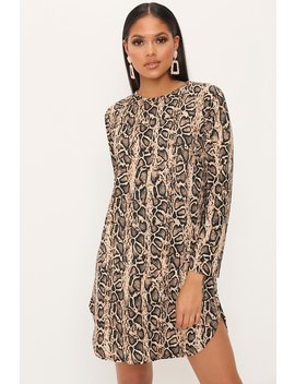 Brown Snake Print Long Sleeve Shift Dress by I Saw It First