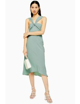 Blue Twist Halter Midi Dress by Topshop