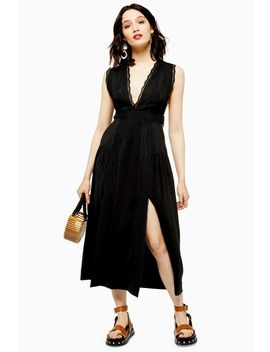 Black Lace Insert Pinafore Dress by Topshop