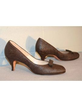 Fits 8 8.5 N  Nos Vtg 40s 50s High Heel Brown Pebble Texture Leather Shoe by Hine's