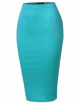 Ssoulm Women's Stretchy Fitted Midi Pencil Skirt With Back Slit And Plus Size by Ssoulm