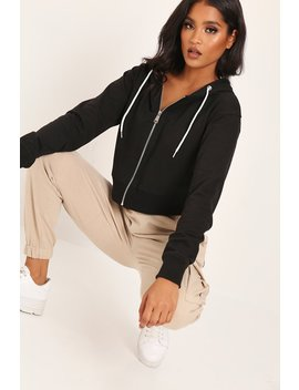 Black Zip Through Cropped Hoodie by I Saw It First