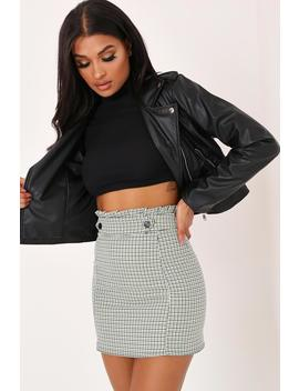 Green Gingham Check Print Paperbag Mini Skirt by I Saw It First