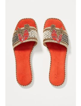 Anthropologie Bird Embellished Slide Sandals by Anthropologie
