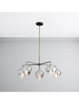 Sculptural Glass Geo 5 Light Chandelier   Small (Ombre) by West Elm