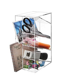 Modern Clear Acrylic Office Desktop Letter Mail Sorter/Pen & Pencil Holder/Home Organizer   My Gift by My Gift