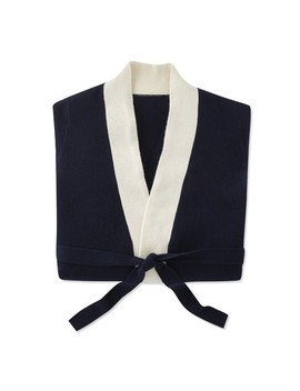 Chambers® Cashmere Two Tone Bath Robe, Navy & Ivory by Williams   Sonoma
