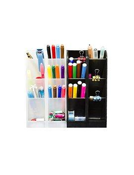 Stylio Office Desk Organizer   Caddies For Office/Teacher Supplies – Translucent Black & White Caddy Organizer Racks (Set Of 4) Perfect For Desktops by Stylio