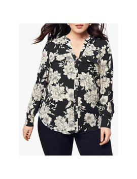 Oasis Curve Floral Shirt, Black/White by Oasis