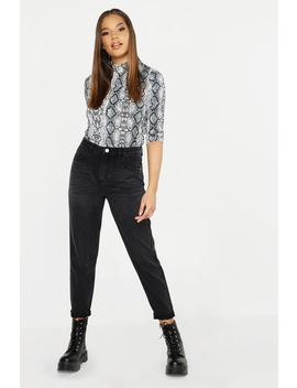 Black High Rise Boyfriend Jeans by Boohoo