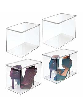M Design Closet Storage Organizer Shoe Box, For High Heels, Tall Pumps, Boots   Pack Of 4, Clear by M Design