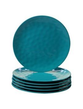 """Certified International Solid Color Melamine Dinner Plates 11"""" Teal   Set Of 6 by Set Of 6"""