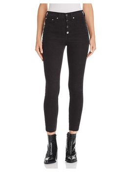 Rosie Corduroy Raw Edge Ankle Skinny Jeans In Black by Rag & Bone/Jean