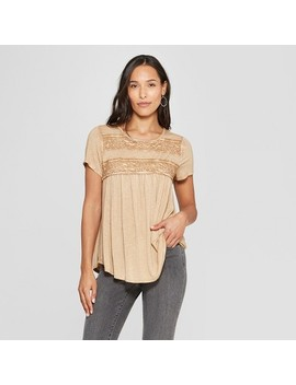 Women's Short Sleeve Crochet Lace Back Detail Top   Knox Rose by Knox Rose