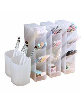 5-pcs-desk-organizer--pen-organizer-storage-for-office,-school,-home-supplies,-translucent-white-pen-storage-holder,-set-of-3,-2-cups-16-compartments-(white) by marbrasse