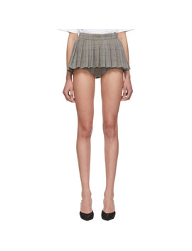 Grey Check Pleated Skirt Shorts by Pushbutton