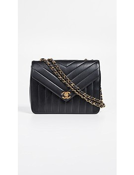 "Chanel Chevron Envelope 9"" Flap Bag by What Goes Around Comes Around"