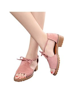 Women's Ladies Lace Up Wedge Espadrilles Summer Chunky Holiday Platform Wedges Sandals Shoes Ankle Strap Peep Toe Suede Shoes Heeled Shoes Block Heel Pump Dress Sandals Duseedik (Pink,... by Duseedik Shoes