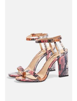 **Wide Fit Rolo Pink Snakeskin Strap Sandals by Topshop