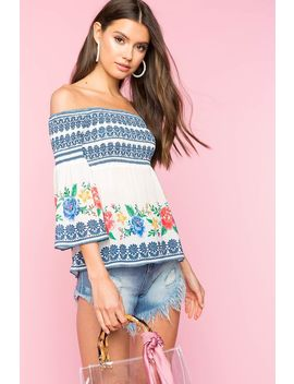 Floral Border Smocked Babydoll Top by A'gaci