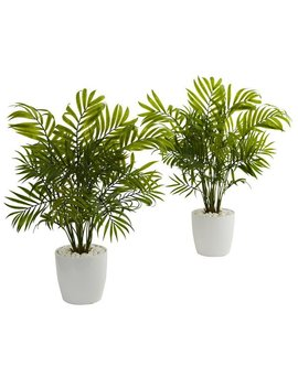 Palms In White Planter Artificial Plant (Set Of 2) by Nearly Natural